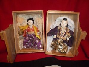 Antique Japanese Theater Performers Original Wood Boxes Display Stands