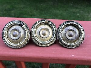 Vintage Antique Brass Round Drop Ring Drawer Pulls Keller Kbc H396 Set Of 3
