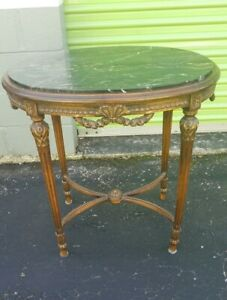 Antique Marble Top Walnut Carved Lamp Table