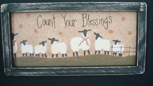 Prim Country Print Count Your Blessings With Sheep Black Frame 12 1 2 X 7