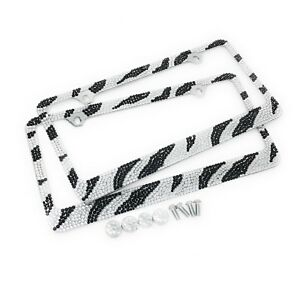 2 Pack Popular 7 Rows Zebra Bling Crystal License Plate Frame Crystal Cap