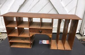 Vintage Wood Desk Top Organizer 11 Cubbyholes And 1 Drawer 26 5 w X 12 75 H