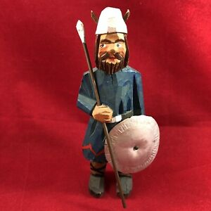 Norwegian Henning Hand Carved Wood Viking Man With Spear Shield Vtg 4 5 Inches