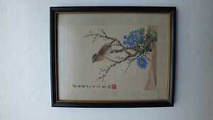 Antique Vintage Beautiful Chinese Watercolor Framed Silk Painting Signed
