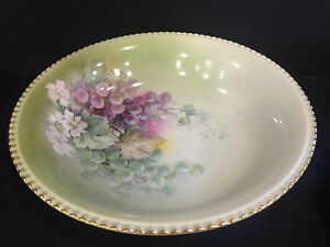 Beautiful Hand Painted Signed Porcelain Schwarzburg Bowl 10 5 Inches