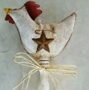 Primitive Chicken Rooster Pokes Bowl Filler Ornies Accents Decor