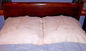Extraordinary Vintage Whitework Pillow Shams Sweet Lilies Museum Quality 1880
