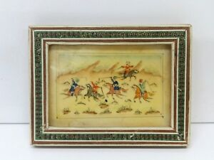 Vintage Khatam Marquetry Inlaid Frame W Middle East Miniature Hand Painting