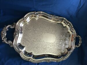 Silver On Copper Large Serving Tray With Handles Platter 24 50 Heavy W Markings