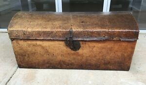 Early 1800 S Spanish Leather Adorned Trunk