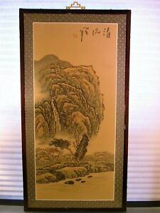 Chinese Silk Painting Landscape Mountain Estate Signed 34