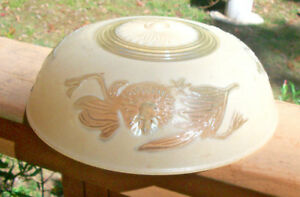 Vintage Art Deco Yellow Glass Ceiling Light Shade 3 Hole Hanging Mount
