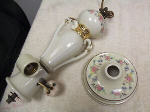 Vintage Antique Porcelier 3 Light Porcelain Ceiling Fixture With Ceiling Cap