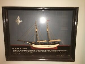 Antique Model Ship In A Shadow Box Rare Nautical Collectible Artwork Folk Art