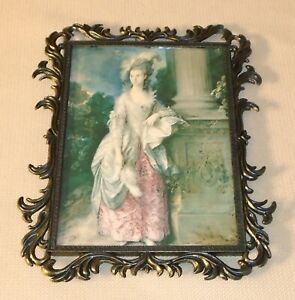Vintage Hanging Ornate Metal Picture Frame Italy With Print 336o