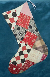 Primitive Antique Vintage Cutter Quilt Christmas Stocking Wow 18 14