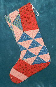 Primitive Antique Vintage Cutter Quilt Christmas Stockings Blue Red 16 5