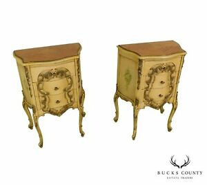 French Louis Xv Style 1940 S Pair Painted Serpentine Nightstands