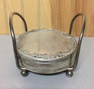 Vintage Silver Plated Coaster Set Of 7 Pieces With Holder