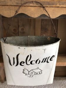 Vintage Shabby Welcome Galvanized Metal Wall Pocket Bucket Rustic Farmhouse Chic