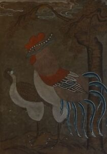 Very Fine Early 1900 Korean Minhwa Folk Painting Mystical Bird Pheasant Jangji