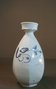 Very Fine Korean Joseon Dynasty 8 Sided Cobalt Blue White Porcelain Wine Vase