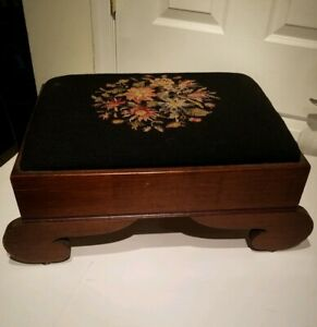 Victorian Empire Mahogany Needlepoint Foot Stool