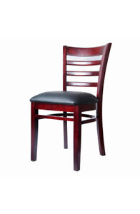 Mahogany Wood Finished Ladder Back Wooden Restaurant Chair