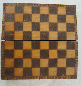 Vintage Wooden Checkerboard Game 6 Chess Box Ornate Pokerwork Old