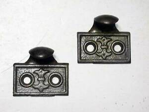 Pair Matching Window Sash Lifts In Cast Iron Antique Victorian Era