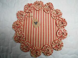 Primitive Red Stained Ticking Fabric Candle Mat Table Runer Topper Yoyo Doily 7