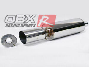 2 5 Inlet Universal Stainless Steel Round Muffler W Silencer By Obx Forza