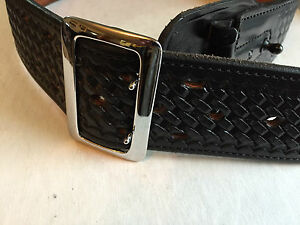 Bianchi B2 2 25 Wide Basketweave Duty Belt Sz 30 Silver Buckle
