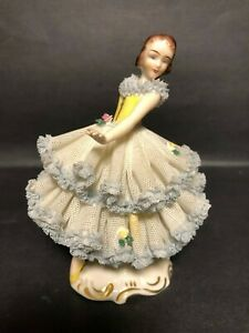 Antique Dresden Germany Ballerina Figurine Lace 0 862 Porcelain Crown Green Mark