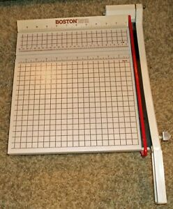 Boston 2612 Paper Cutter 12 Trimmer Heavy Duty Guillotine Usa Works Great Euc