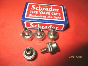 Vintage Schrader Chrome Tire Valve Stem Caps Lot Of 5 Made In Usa
