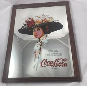 Vintage Coca Cola Mirror Bar Sign Framed Picture 12X16 Hamilton Girl