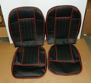 New Front Seat Covers Seat Upholstery For Mgb 1963 1968 Black Vinyl W Red Trim
