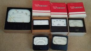 Six Vintage Panel Vu Meters Triplett Dynapower National Research Amperes