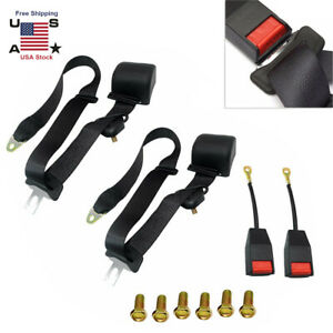 2x 3 Point Retractable Adjustable Safety Seat Lap Belts Harness Kits For Car Van