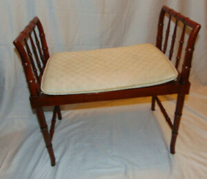Vintage Baker Furniture Faux Bamboo Foot Stool Bench Ottoman Vanity Seat Chair