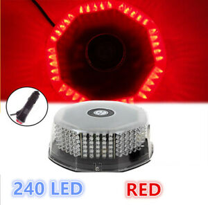 240 Led Car Rotating Round Beacon Roof Top Emergency Flash Strobe Lights 12v Red