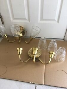 Pair Of Brass 3 Arm Electric Wall Sconces Light Fixture Great Condition