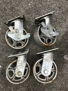 new Set Of 4 Vintage Industrial Cast Iron Casters 2 Rigid