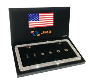 1 Jr2 Luxury Handmade Bling Rhinestone Metal License Plate Frame anti theft Cap