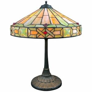 Wilkinson Arts Crafts Leaded Stained Glass Lamp Patinated Bronze Base