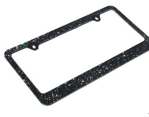 Jr2 Bling 7 Rows Black Diamond Crystal Metal License Plate Frame Free Cap