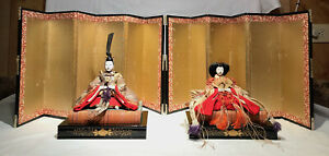 Hina Dolls Emperor Empress Antique 100 Years Old Kyoto Accessories Screens