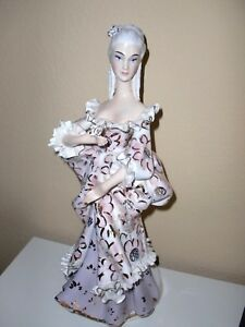Italy Antique Porcelain Noblewoman Lady Handcrafted Lace Statue Figurine 16 Tall