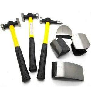 Auto Body Set 7 Pc Heavy Duty Dent Fender Repair Hammer Dolly Professional Kit